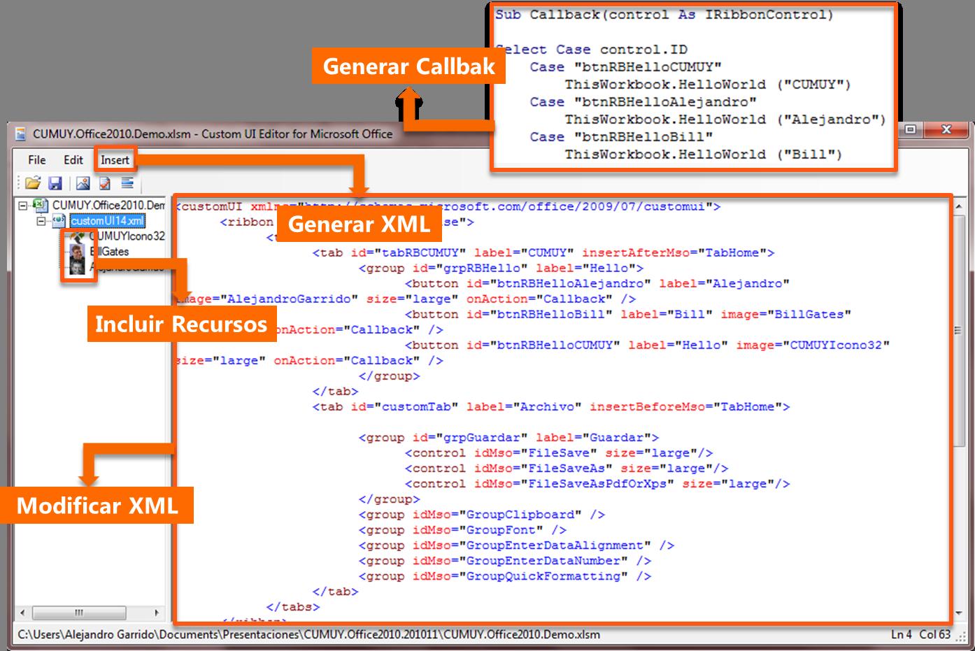 Personalización de UI con OPENXML y VS 2010 en Microsoft Office 2010 ...